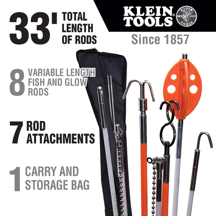 Klein Tools 56400 Splinter Guard Wire Fish Rod and Glow Rod Kit to 33-Foot with Full Accessory Set and Case