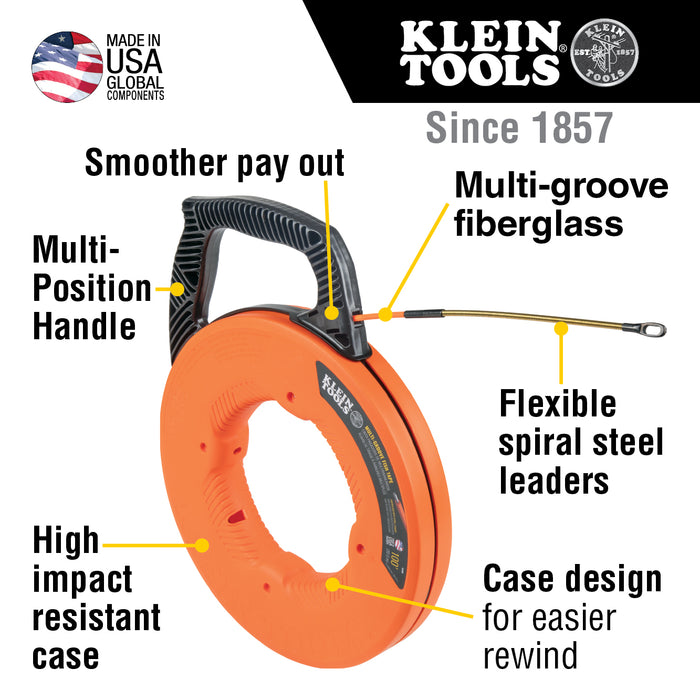 Klein Tools 56380 Multi-Groove Fiberglass Fish Tape with Spiral Steel Leader, 100-Foot