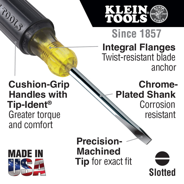Klein Tools 608-10 1/8'' Cabinet Tip 10'' Shank Mini Screwdriver