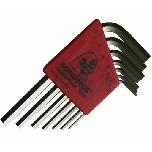 Bondhus 16292 Set of 7 Hex L-wrenches with BriteGuard Finish, Short Length, Sizes 1.5-6mm