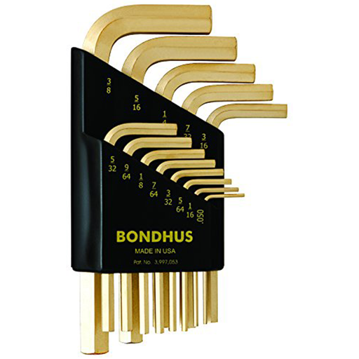 Bondhus 38237 Set of 13 Hex L-wrenches with GoldGuard? Finish, Short Length, Sizes .050-3/8""