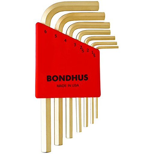 Bondhus 38292 Hex Tip Key L-Wrench Set with GoldGuard Finish, 7 Piece