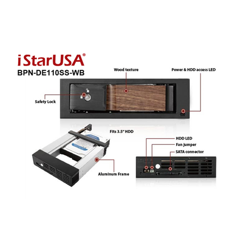 "iStarUSA BPN-DE110SS-WB  Trayless 5.25"" to 3.5"" SATA SAS 6 Gbps HDD Hot-swap Rack with Wood Look Bezel"