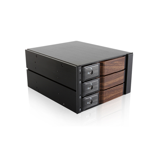 "iStarUSA BPN-DE230SS-WB  Trayless 2x 5.25"" to 3x 3.5"" SAS SATA 6 Gbps HDD Hot-swap Rack with Wood Look Bezel"