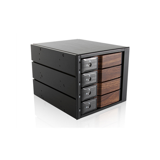 "iStarUSA BPN-DE340SS-WB  Trayless 3x 5.25"" to 4x 3.5"" SAS SATA 6 Gbps HDD Hot-swap Rack with Wood Look Bezel"