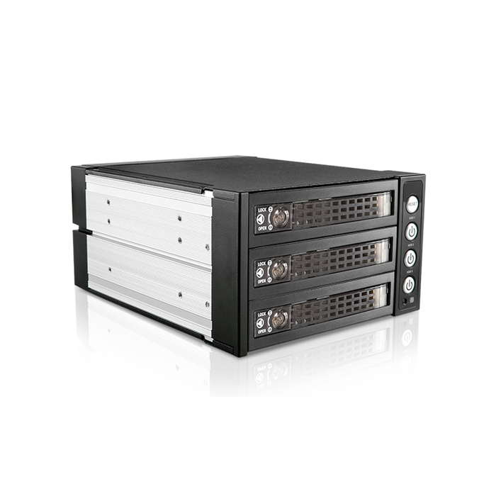 "iStarUSA BPU-230SATA-KL  2x 5.25"" to 3x 3.5"" 2.5"" SAS SATA 6 Gbps HDD SSD Hot-swap Rack with Key Lock"