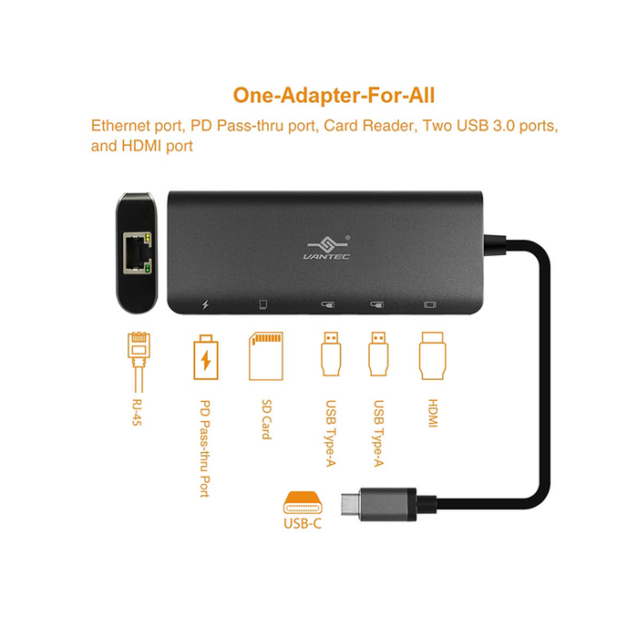 Vantec CB-CU300MDSH USB-C 5-in-1 Multi-Port Adapter