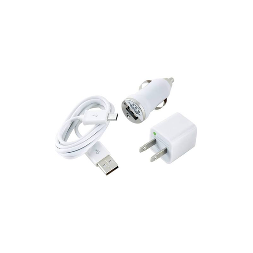 Dantona CEL-CHGMICRO Micro USB Vehicle and Wall Chargers - White