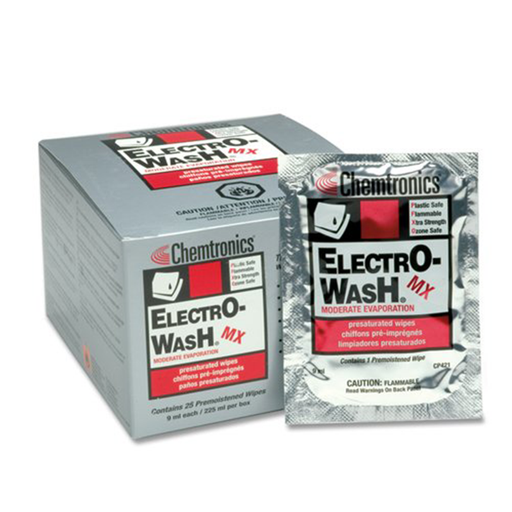 Chemtronics CP421 Electro-Wash & Degreaser Saturated Cleaning Wipes, 25 Per Box