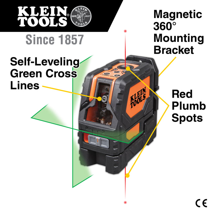 Klein Tools 93LCLG Laser Level, Self-Leveling Green Cross-Line and Red Plumb Spot