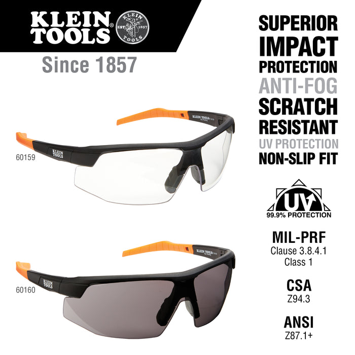 Klein Tools 60160 Standard Safety Glasses, Gray Lens