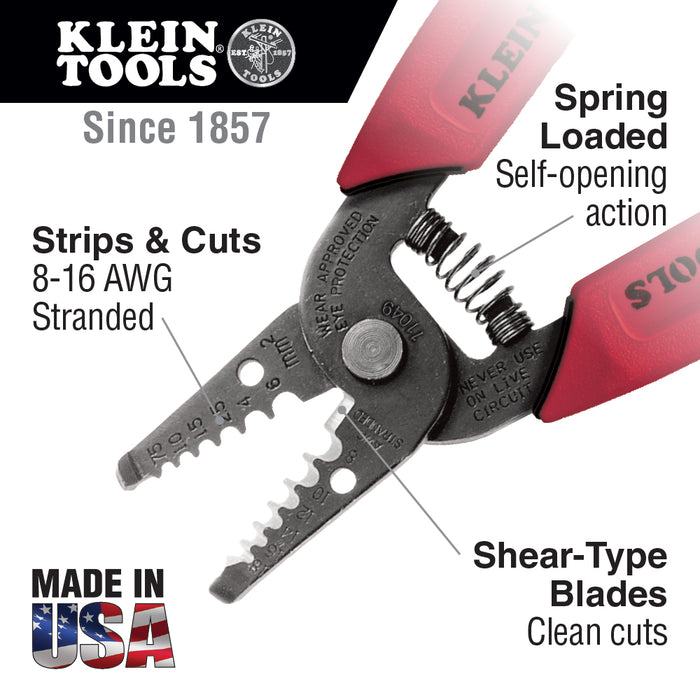 Klein Tools 11049 Wire Stripper/Cutter for 8-16 AWG Stranded Wire