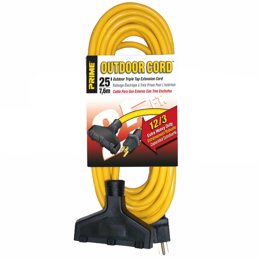 Prime Wire & Cable EC600825 Extra Heavy Duty 25' Outdoor Generator Extension Cord 3-Conductor Triple Tap
