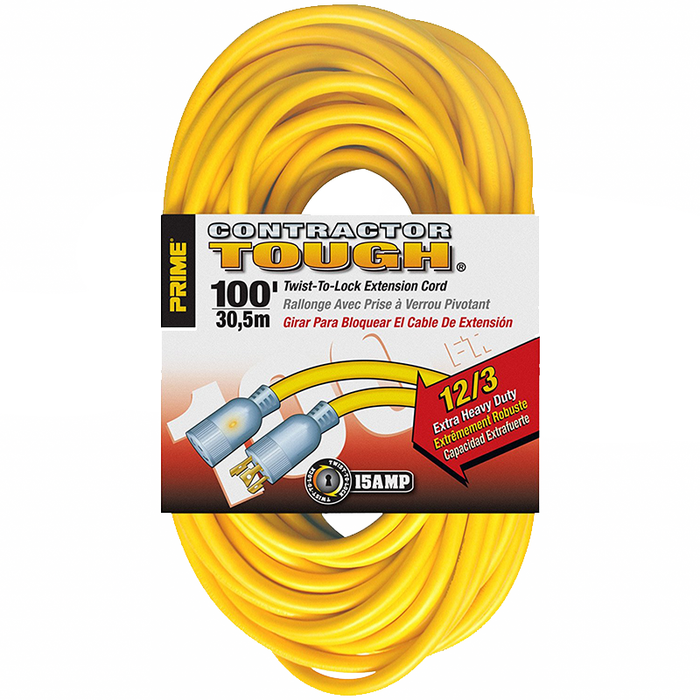 Prime Wire & Cable EC730835 100' 12/3 SJTW Twist -to-Lock Contractor Outdoor Extension Cord with Prime light Indicator Light, Yellow