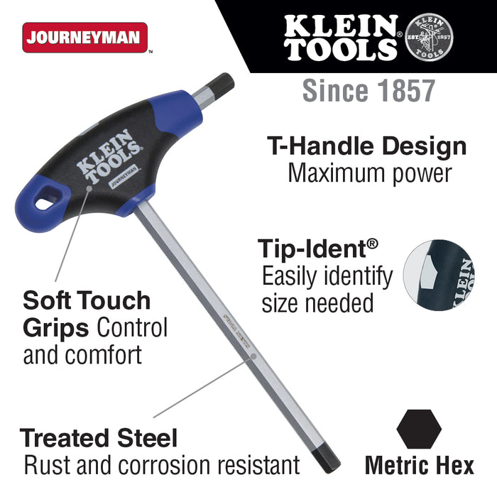 Klein Tools JTH6M2 2 mm Hex Key, Journeyman T-Handle, 6-Inch