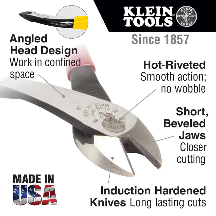"Klein Tools D238-8 8"" Semi-Flush High Leverage Angled Head Diagonal Cutting Pliers"