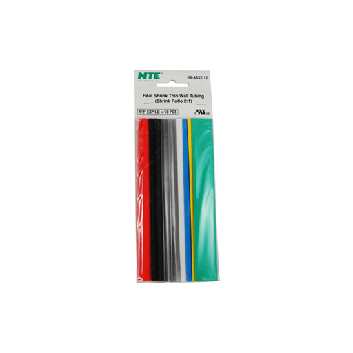 "NTE Electronics HS-ASST-11 Thin Wall Heat Shrink Tubing Kit Assorted Colors 6"" Length 3/32"" Dia. 10 Pieces"