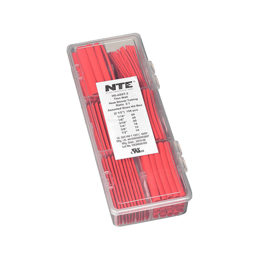 "NTE Electronics HS-ASST-3 Thin Wall Heat Shrink Tubing Kit Red Assorted Dia. 2-1/2"" Length 158 Pieces"