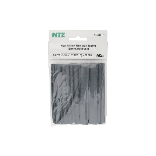 "NTE Electronics HS-ASST-4 Thin Wall Heat Shrink Tubing Kit Black Assorted Dia. 4"" Length 24 Pieces"
