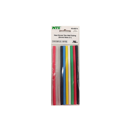 "NTE Electronics HS-ASST-6 Thin Wall Heat Shrink Tubing Kit Assorted Colors 6"" Length 3/16"" Dia. 10 Pieces"