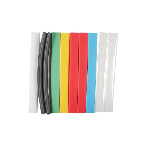"NTE Electronics HS-ASST-8 Thin Wall Heat Shrink Tubing Kit Assorted Colors 6"" Length 3/8"" Dia. 10 Pieces"