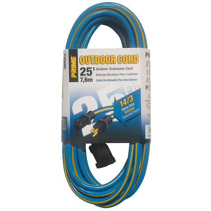 Prime Wire & Cable KC506725 25' 14/3 SJTW Kaleidoscope Heavy Duty Outdoor Extension Cord, Blue and Yellow