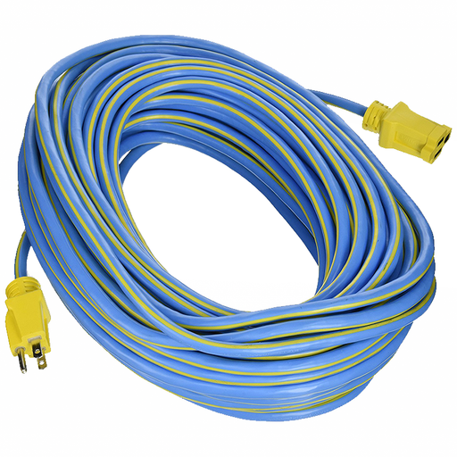 Prime Wire & Cable KC506735 100-Foot 14/3 SJTW Kaleidoscope Heavy Duty Extension Cord, Blue and Yellow