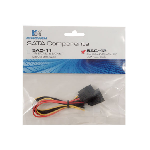 "Kingwin SAC-12 8"" Molex to SATA Power Cable"