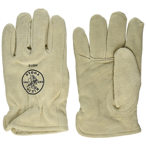 Klein Tools 40015 Lined Cowhide Driver's Gloves, X-Large,Gray