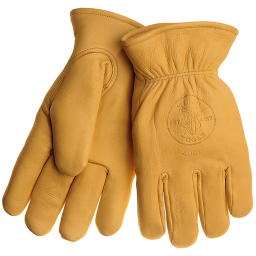 Klein Tools 40017 Deerskin Work Gloves, Lined,Yellow,Large