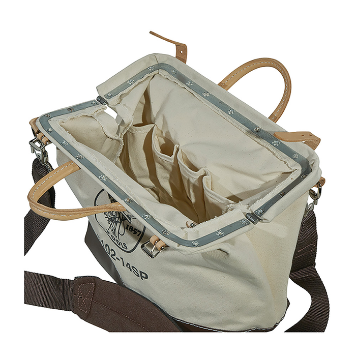 Klein Tools 5102-14SP Deluxe Canvas Tool Bag, 10 Pockets