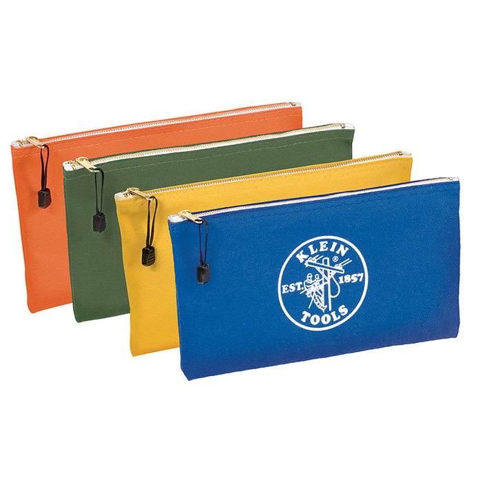 Klein Tools 5140 Canvas Zipper Bags, Olive, Orange, Blue, Yellow (4-Pack)