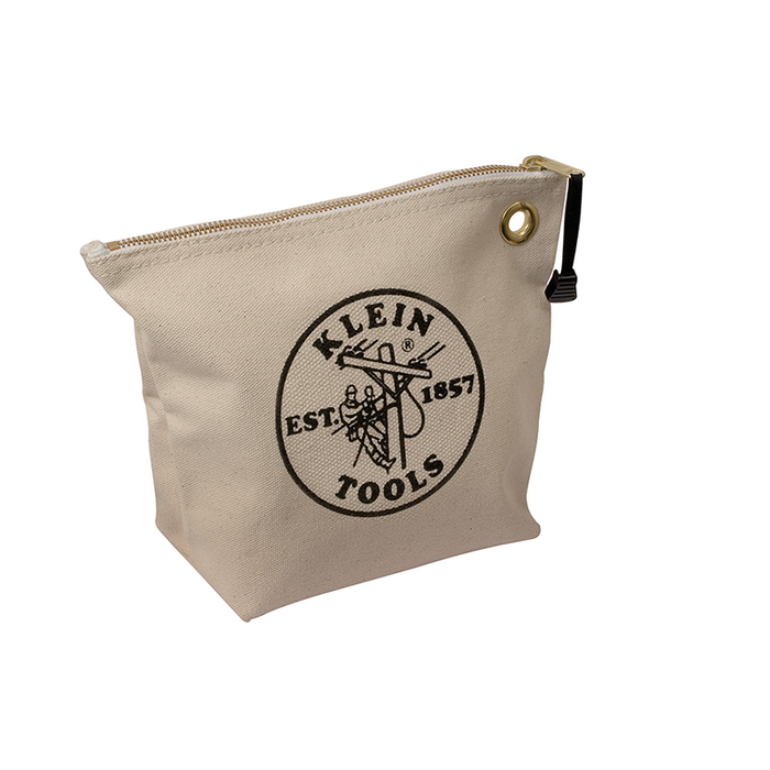 Klein Tools 5539NAT Canvas Zipper Bag for Consumables, Natural