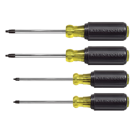 Klein Tools 85664 Square Recess Screwdriver Set, 4 Piece