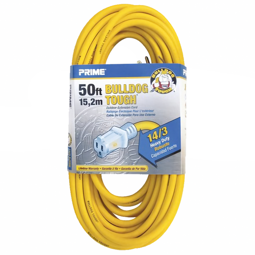 Prime Wire & Cable LT511730 50' 14/3 SJTOW Bulldog Tough Extension Cord with PrimeLight Indicator Light, Yellow
