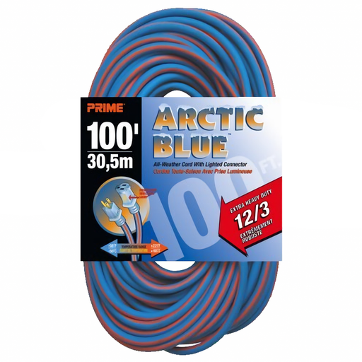 Prime Wire & Cable LT530835 Extra Heavy Duty 100-Foot Artic Blue All-Weather TPE Extension Cord