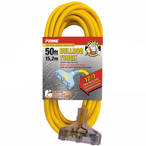 Prime Wire & Cable LT611830 50' 12/3 SJTOW Bulldog Tough Heavy Duty Triple-Tap Extension Cord with Prime Light Indicator Light, Yellow