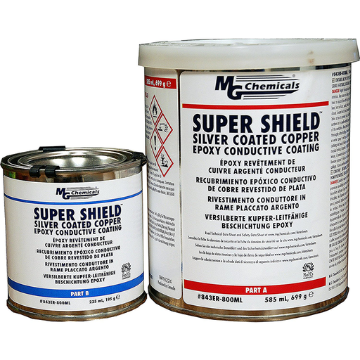 Mg Chemicals 843ER-800ML Super Shield Silver Coated Copper Epoxy Conductive Coating, 810mL 2-part kit