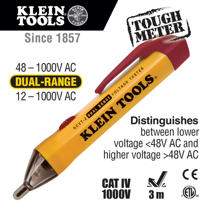 Klein Tools NCVT-2 Dual Range Non-Contact Voltage Tester, 12-1000 VAC