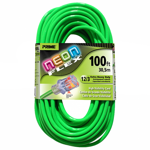 Prime Wire & Cable NS512835 100' 12/3 SJTW Flex High Visibility Extra Heavy Duty Outdoor Extension Cord with Prime light Indicator Light, Neon Green