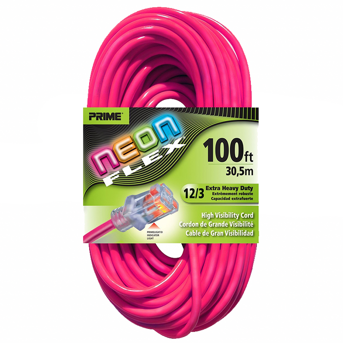 Prime Wire & Cable NS513835 100' 12/3 SJTW Flex High Visibility Extra Heavy Duty Outdoor Extension Cord with Prime light Indicator Light, Neon Pink
