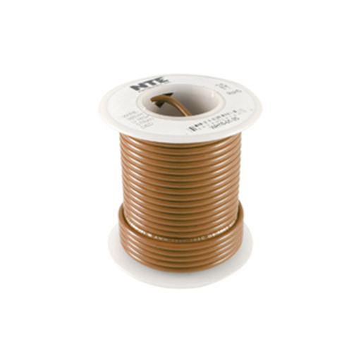 NTE Electronics WH610-01-25 Stranded 10 Gauge Brown Hook Up Wire, 25ft.