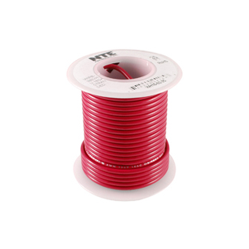 NTE Electronics WH610-02-25 Stranded 10 Gauge Red Hook Up Wire, 25ft.