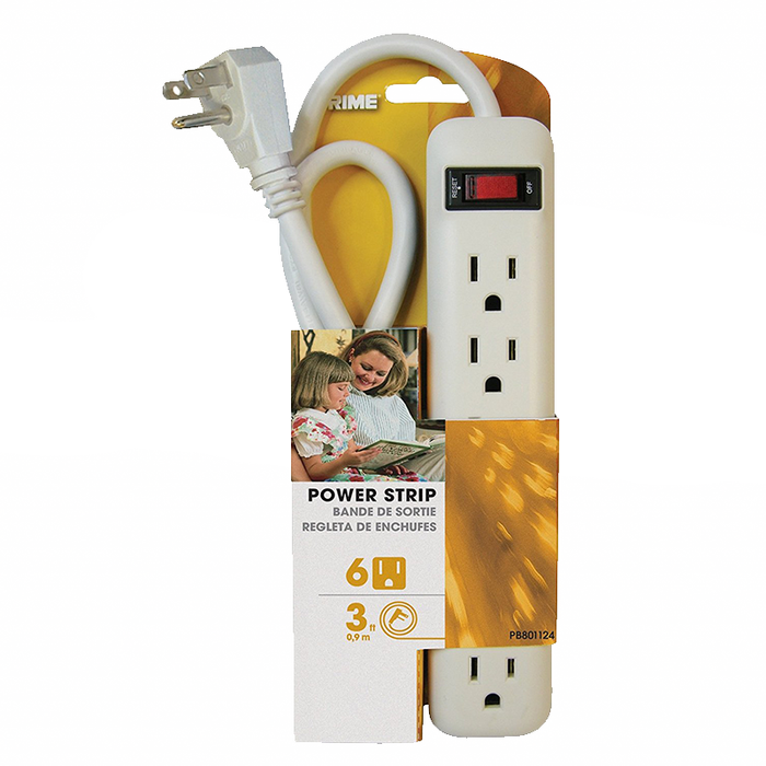 Prime Wire & Cable PB801124 6 Outlet Power Strip with 3' cord, White