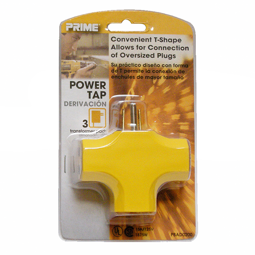 Prime Wire & Cable PBAD0200 90 degree 3-Outlet Adapter, Yellow