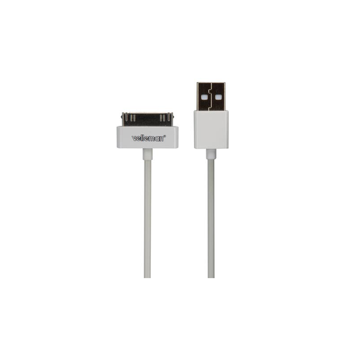 Velleman PCMP66 USB A Male to Apple 30-Pin Male Cable - White - 3.28 ft