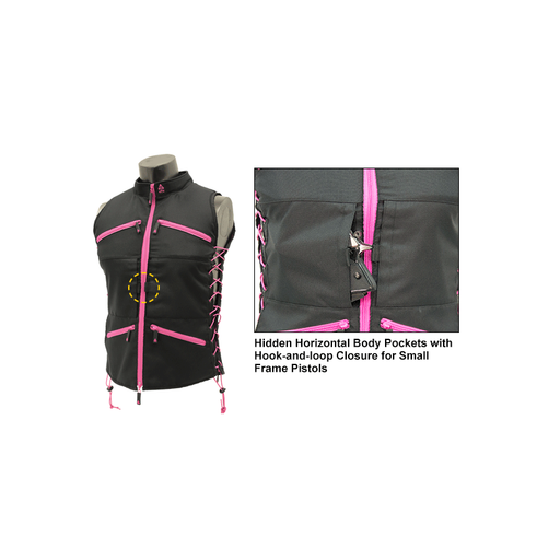UTG PVC-VF21BP True Huntress Female Sporting Vest, Black/Pink