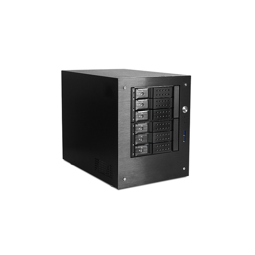 "iStarUSA S-46-DE6BK Compact Stylish 6x 3.5"" Hotswap Trayless mini-ITX Tower"