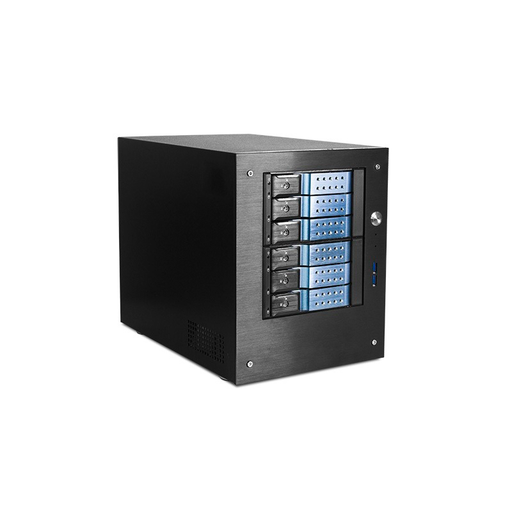 "iStarUSA S-46-DE6BL Compact Stylish 6x 3.5"" Hotswap Trayless mini-ITX Tower"