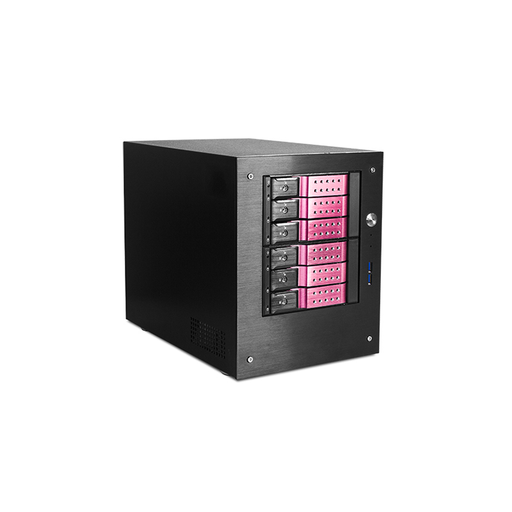 "iStarUSA S-46-DE6RD Compact Stylish 6x 3.5"" Hotswap Trayless mini-ITX Tower"